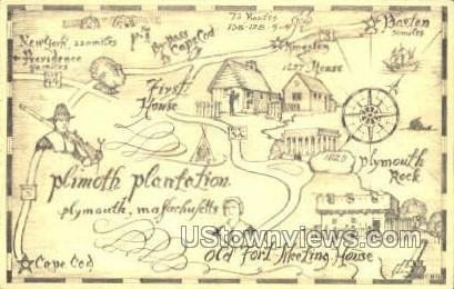 Plymouth Plantation - Massachusetts MA Postcard