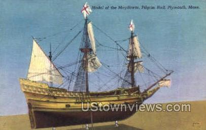 Model of the Mayflower - Plymouth, Massachusetts MA Postcard