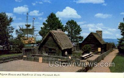 Pilgrim Houses & Mayflower 2 - Plymouth, Massachusetts MA Postcard