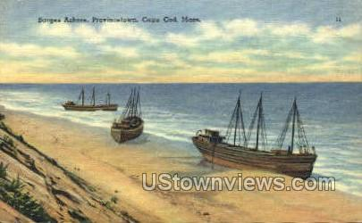 Barges Ashore - Provincetown, Massachusetts MA Postcard