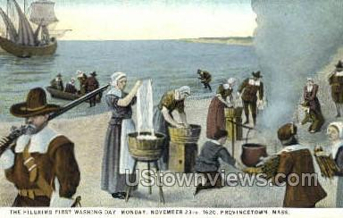 The Pilgrims First Washing Day - Provincetown, Massachusetts MA Postcard