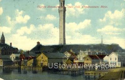Pilgrim Monument & Town Hall - Provincetown, Massachusetts MA Postcard