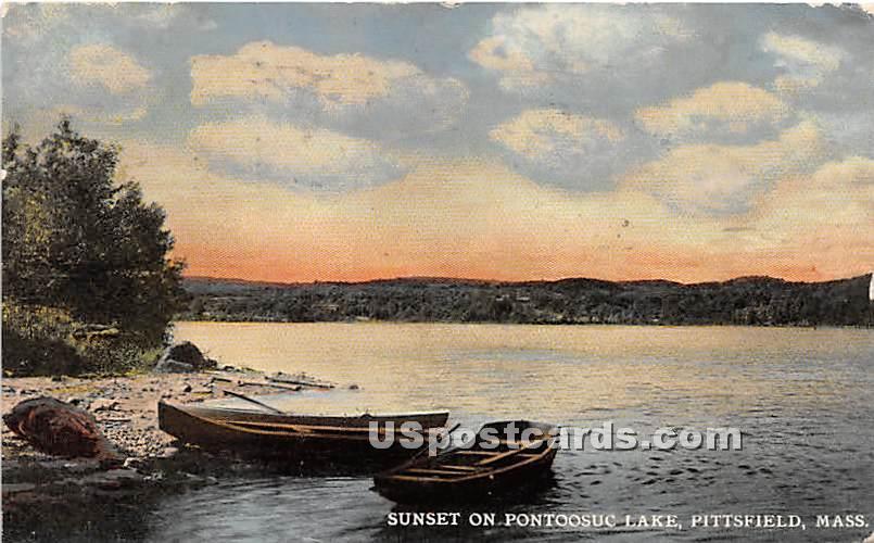 Sunset on Pontoosuc Lake - Pittsfield, Massachusetts MA Postcard