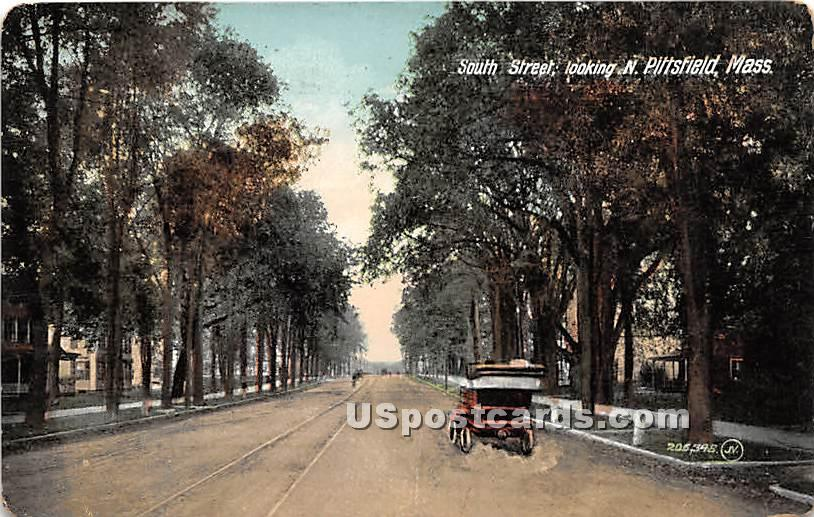 South Street looking North - Pittsfield, Massachusetts MA Postcard