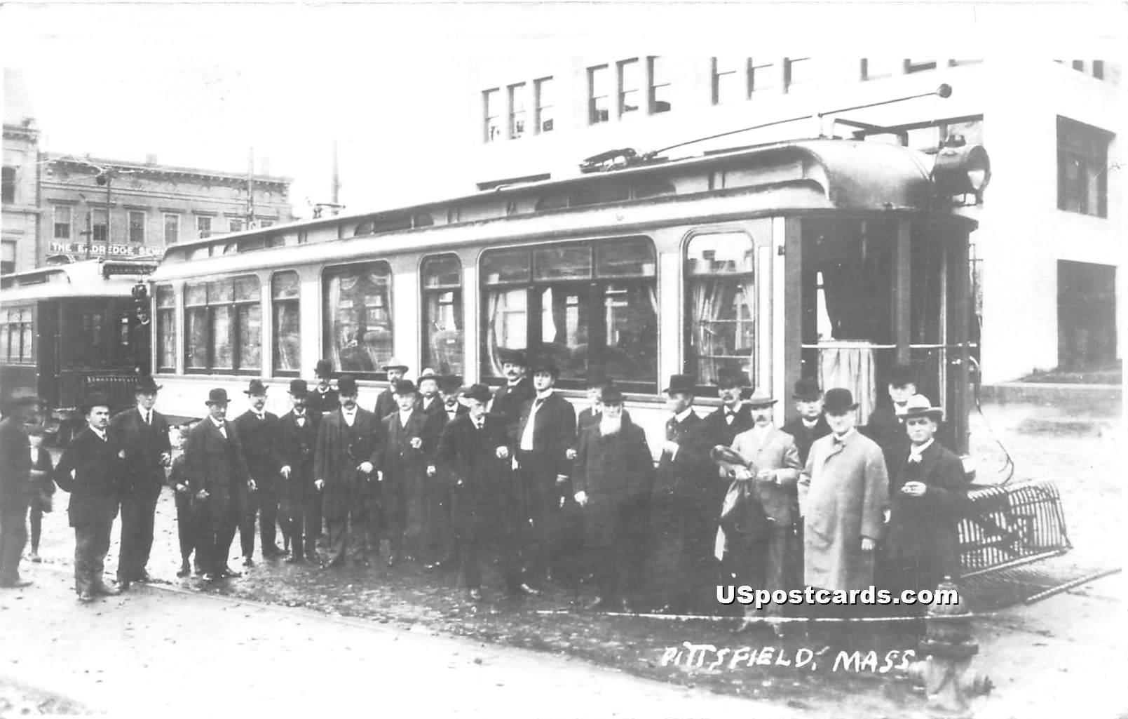 Trolley - Pittsfield, Massachusetts MA Postcard