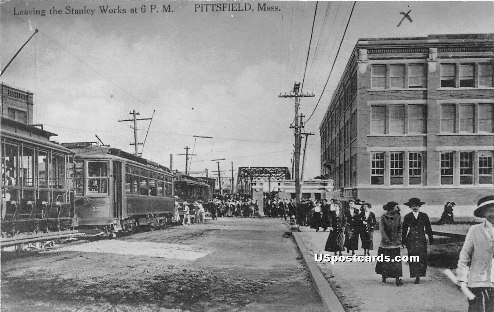 Leaving the Stanley Works - Pittsfield, Massachusetts MA Postcard