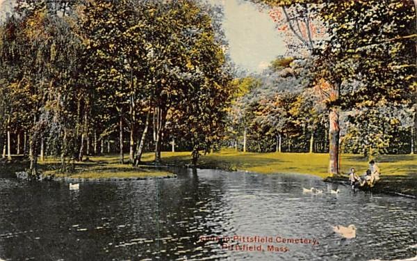 Scene in Pittsfield Cemetery Massachusetts Postcard