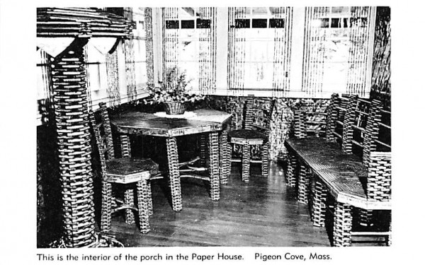 Interior of the porch Pigeon Cove, Massachusetts Postcard