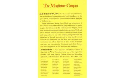 The Mayflower Compact Plymouth, Massachusetts Postcard