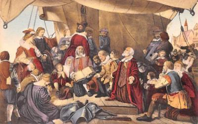 Embaraction of the Pilgrims Plymouth, Massachusetts Postcard
