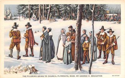 The Pilgrims going to Church Plymouth, Massachusetts Postcard