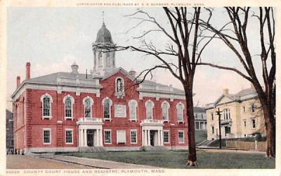 County Court House & Registry Plymouth, Massachusetts Postcard