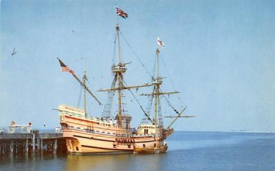 The Mayflower at dock Plymouth, Massachusetts Postcard