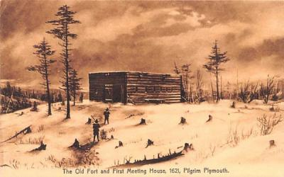 The Old Fort & First Meeting House Plymouth, Massachusetts Postcard