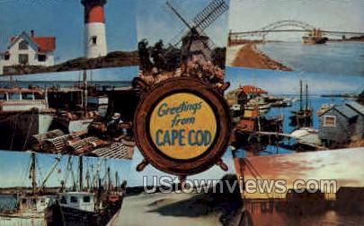 Light Houses, Fishing Boats - Cape Cod, Massachusetts MA Postcard