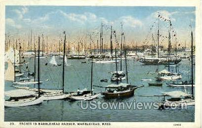 Yachts, Marblehead Harbor - Massachusetts MA Postcard