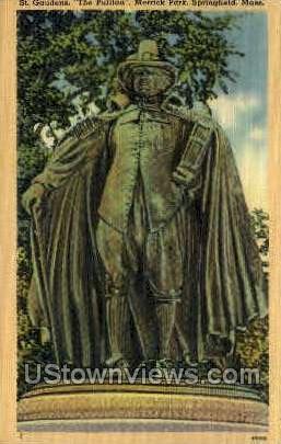 St Gaudens, The Puritan, Merrick Park - Springfield, Massachusetts MA Postcard