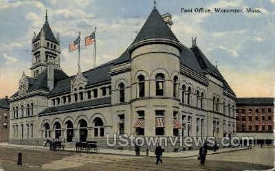 Post Office - Worcester, Massachusetts MA Postcard