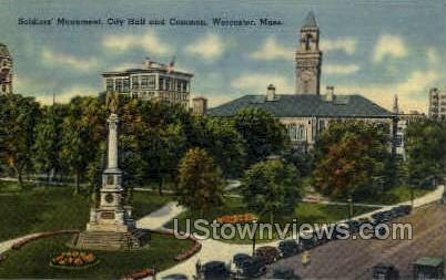 Soldiers' Monument, City Hall - Worcester, Massachusetts MA Postcard