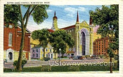 Notre Dame Church - Worcester, Massachusetts MA Postcard
