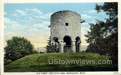 Tower, Institute Park - Worcester, Massachusetts MA Postcard