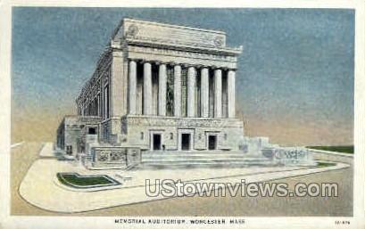 Memorial Auditorium - Worcester, Massachusetts MA Postcard