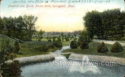 Fountain & Brook, Forest Park - Springfield, Massachusetts MA Postcard