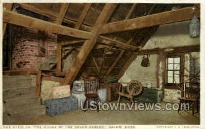 Attic, House of the Seven Gables - Salem, Massachusetts MA Postcard