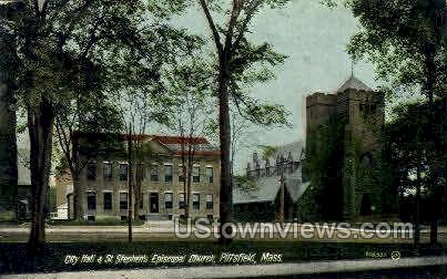 City Hall, St Stephen's Episcopal Church - Pittsfield, Massachusetts MA Postcard