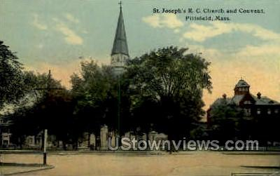 St Joseph's RC Church & Convent - Pittsfield, Massachusetts MA Postcard