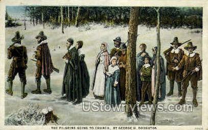 Pilgrim, Church - Misc, Massachusetts MA Postcard