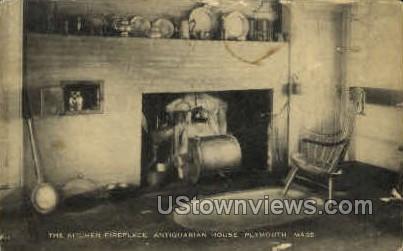 Kitchen, Fireplace, Antiquarian House - Plymouth, Massachusetts MA Postcard