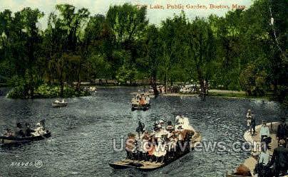 Lake, Public Garden - Boston, Massachusetts MA Postcard