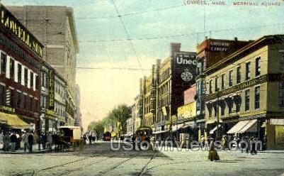 Merrimac Square - Lowell, Massachusetts MA Postcard