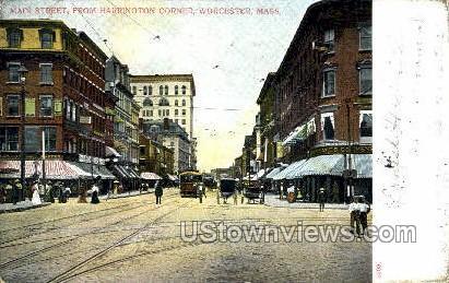 Main Street - Worcester, Massachusetts MA Postcard