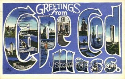Cape Cod, Mass     ;     Cape Cod, Massachusetts Postcard