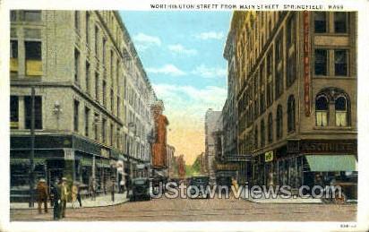 Worthington Street, Main St - Springfield, Massachusetts MA Postcard