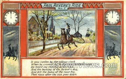 Paul Revere's Ride - Misc, Massachusetts MA Postcard
