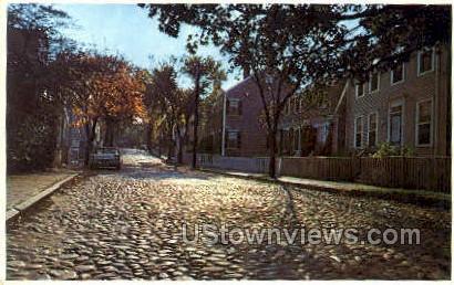 Nantucket Cobblestoned Main St - Massachusetts MA Postcard