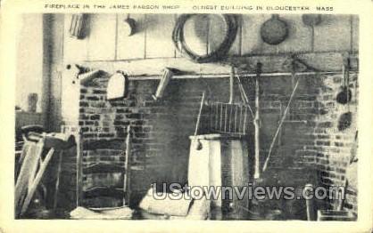 Fireplace, James Babson Shop - Gloucester, Massachusetts MA Postcard
