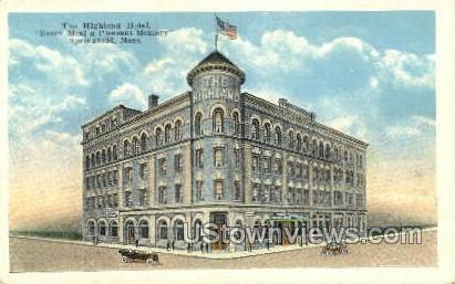 Highland Hotel - Springfield, Massachusetts MA Postcard