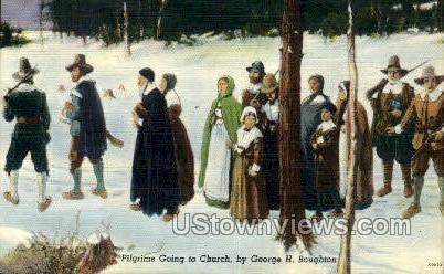 Pilgrims, Church - Misc, Massachusetts MA Postcard