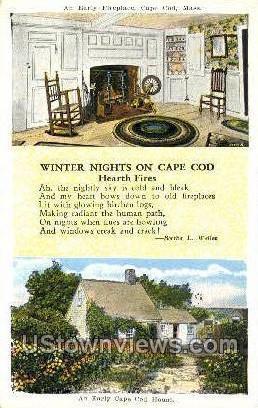 Early Fireplace - Cape Cod, Massachusetts MA Postcard