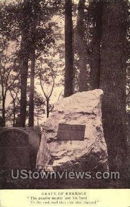 Grave of Emerson - Misc, Massachusetts MA Postcard