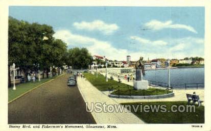 Stacey Blvd, Fisherman's Monument - Gloucester, Massachusetts MA Postcard