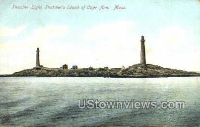 Thatcher Light, Thatcher's Island - Cape Ann, Massachusetts MA Postcard