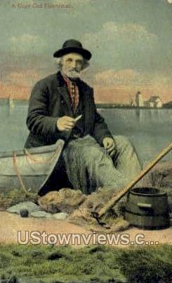 Fisherman - Cape Cod, Massachusetts MA Postcard