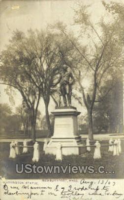 Real Photo - Washington Statue - Newburyport, Massachusetts MA Postcard