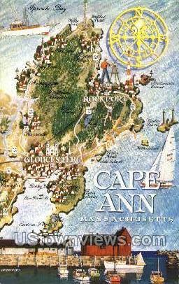 Cape Ann, Mass     ;     Cape Ann, Massachusetts Postcard