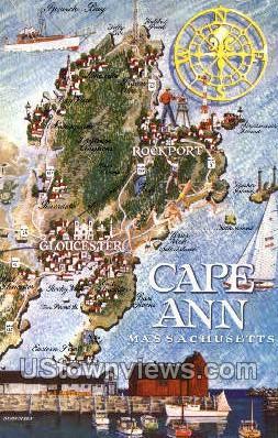 Cape Ann, MA,     ;     Cape Ann, Massachusetts Postcard